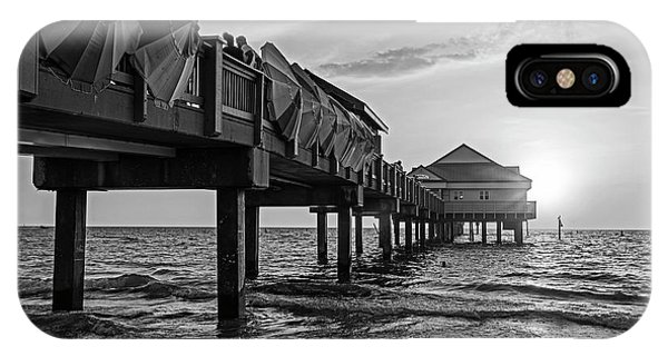 Clearwater Florida Sunset At The Pier Fl Black And White IPhone Case