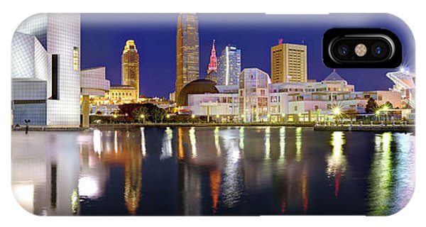 Downtown iPhone Case - Cleveland Skyline At Dusk Rock Roll Hall Fame by Jon Holiday