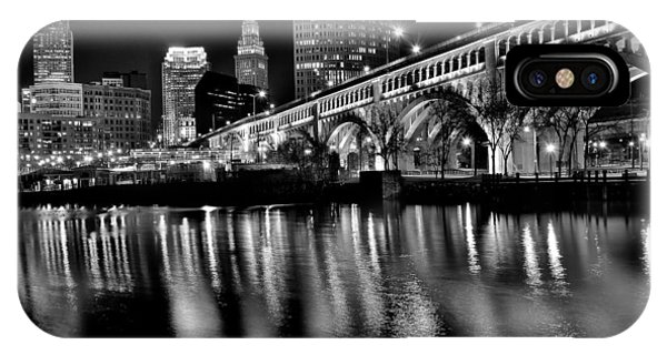 Baseball Hall Of Fame iPhone Case - Cleveland Skyline by Frozen in Time Fine Art Photography