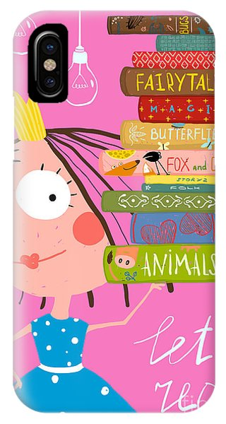 Fairy iPhone Case - Clever Cute Little Girl Reading Books by Popmarleo