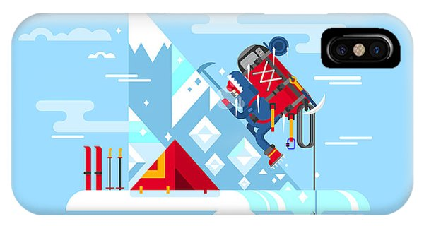Danger iPhone Case - Climber Conquers The Summit. Mountain by Kit8.net