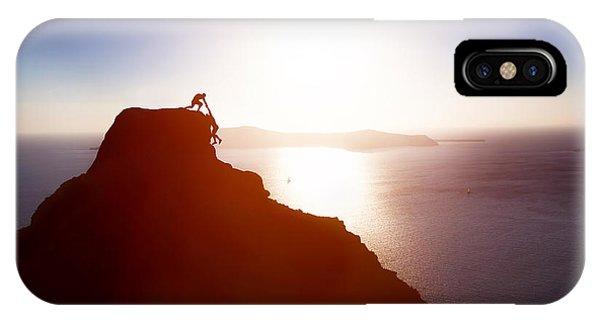 Strength iPhone Case - Climber Giving Hand And Helping His by Photocreo Michal Bednarek