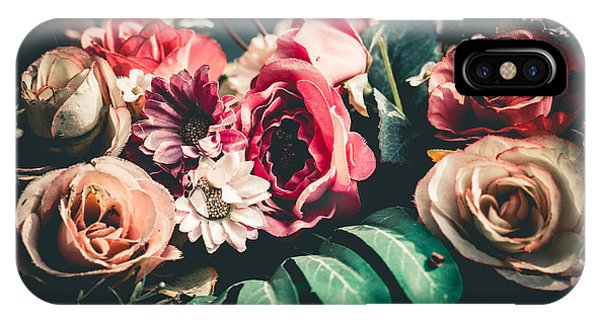 Bouquet iPhone Case - Close Up Colorful Bunch Of Beautiful by Narongchaihlaw