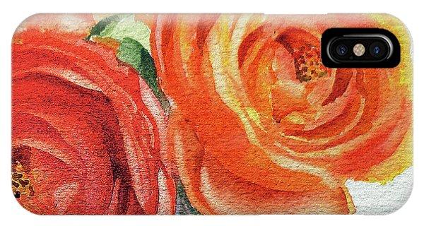 Hyper Realism iPhone Case - Close Up Of Ranunculus Flowers Watercolor by Irina Sztukowski