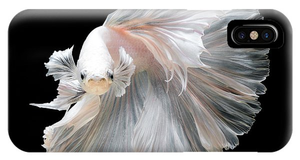 Fins iPhone Case - Close Up Of White Platinum Betta Fish by Nuamfolio