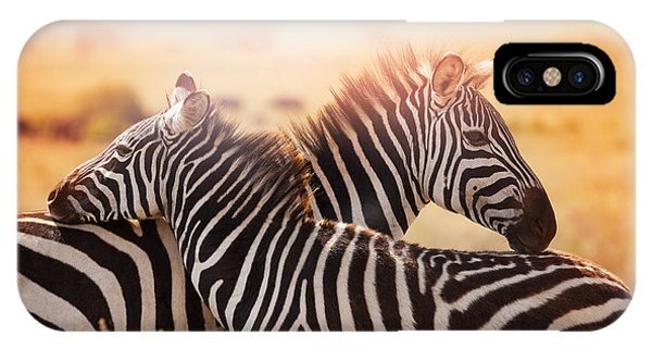 Hug iPhone Case - Close-up Portrait Of Mother Zebra With by Sergey Novikov