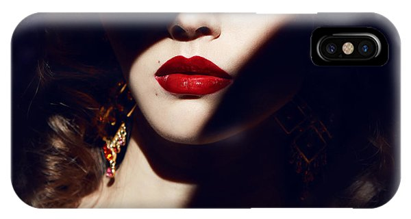 Lips iPhone Case - Closeup Of The Face Belong To Beautiful by Indira's Work