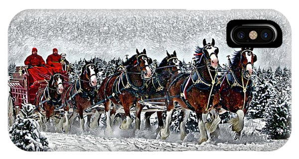 Clydesdales Hitch In Snow IPhone Case