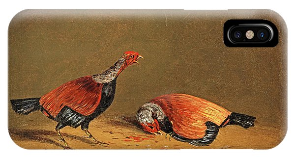 Gamecocks iPhone Case - Cockfighting 3 by Henry Thomas Alken