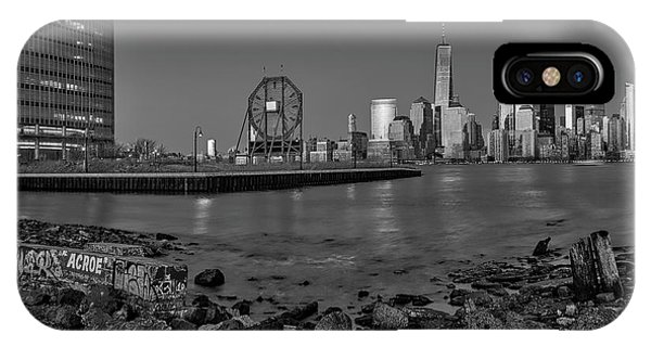 iPhone Case - Colgate Clock And Nyc Skyline Bw by Susan Candelario