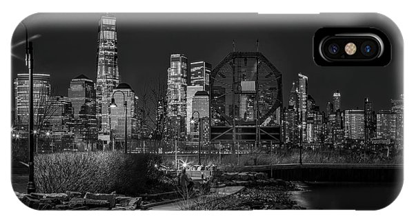 iPhone Case - Colgate Clock And Nyc Skyline Twilight Bw by Susan Candelario