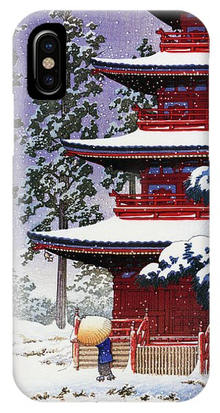 Umbrella Pine iPhone Case - Collection Of Scenic Views Of Japan, Eastern Japan Edition, Saisho Temple, Hirosaki by Kawase Hasui