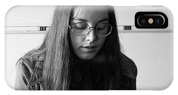 College Student With Octagonal Eyeglasses, 1972 IPhone Case