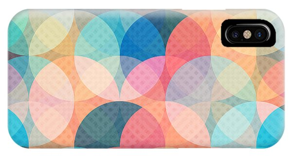 Orange Color iPhone Case - Colored Circle Seamless Pattern by Gudinny
