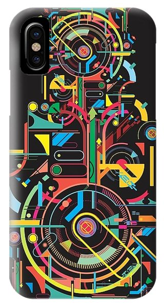 Form iPhone Case - Colorful Abstract Tech Shapes On Black by Gudron