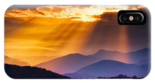 Serenity iPhone Case - Colorful Autumn Sunrise Over The Smoky by Dean Fikar