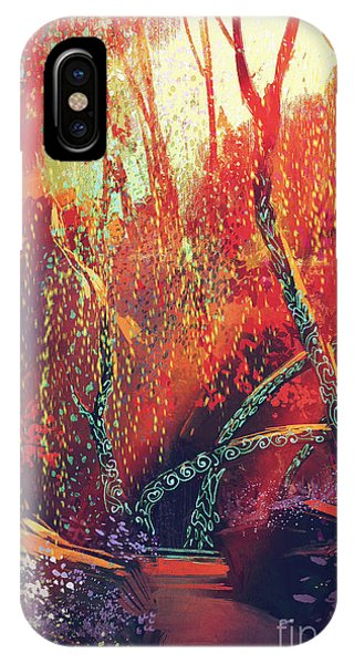 Fairy iPhone Case - Colorful Autumnal Forest With Fantasy by Tithi Luadthong