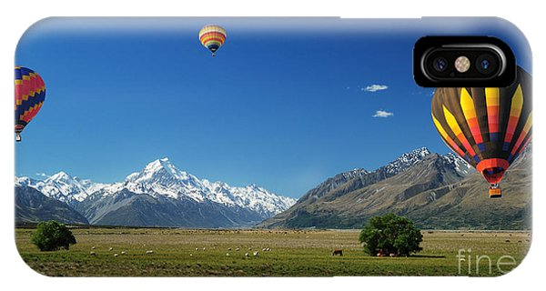 Flight iPhone Case - Colorful Balloons Floating Over Mt. Cook by Natapong Paopijit