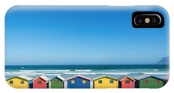 Cab iPhone Case - Colorful Bathhouses At Muizenberg, Cape by E. P. Adler
