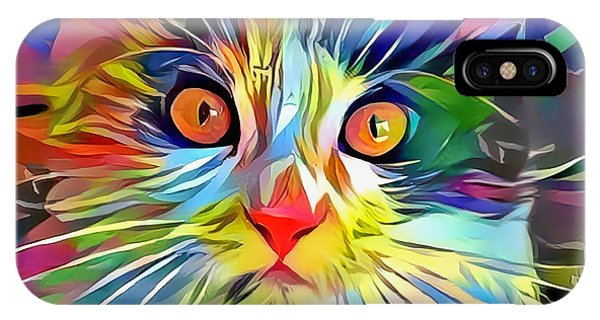 IPhone Case featuring the digital art Colorful Calico Cat by Don Northup