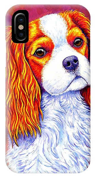 King Charles iPhone Case - Colorful Cavalier King Charles Spaniel Dog by Rebecca Wang