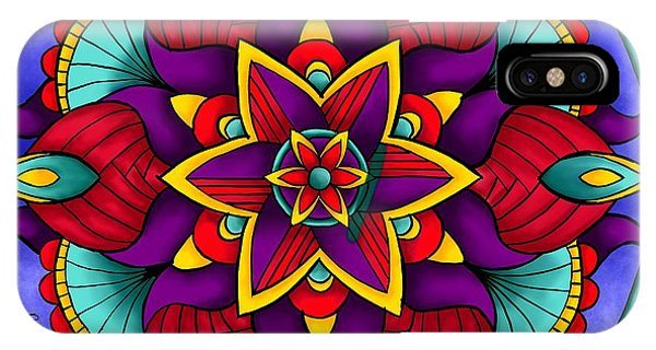 IPhone Case featuring the digital art Colorful Flower Mandala by Becky Herrera
