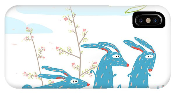Baby Blue iPhone Case - Colorful Funny Cartoon Rabbits Riding by Popmarleo