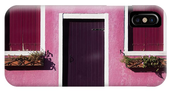 Red-violet iPhone Case - Colorful Geometry Photo Of A House In by Zinaida Zakharova