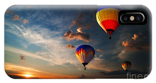 Hot iPhone Case - Colorful Hot Air Balloon Is Flying At by Rozbyshaka