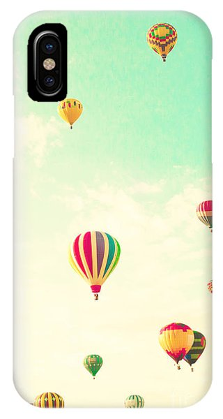 Space iPhone Case - Colorful Hot Air Balloons In A Green by Andrekart Photography