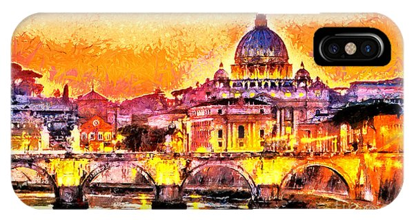 Ancient Rome iPhone Case - Colorful Illuminated San Peter Basilica by Ivan Aleshin