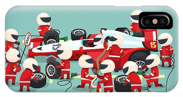 One iPhone Case - Colorful Illustration With Pit Stop by Yauhen Paleski