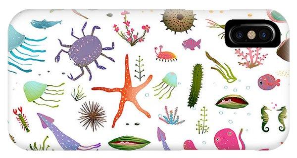 Sea Life iPhone Case - Colorful Kids Cartoon Sea Life Seamless by Popmarleo