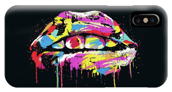 Kiss iPhone Case - Colorful Lips by Balazs Solti