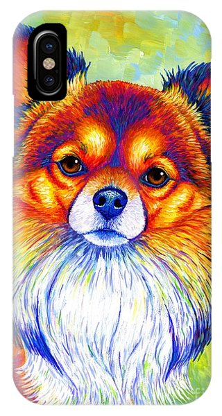 Colorful Long Haired Chihuahua Dog IPhone Case