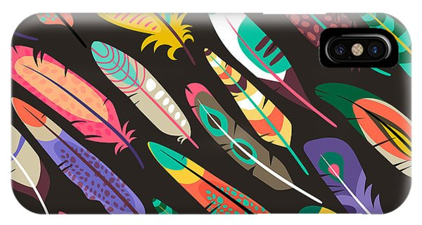 Plumes iPhone Case - Colorful Oblique Seamless Pattern With by Mssa