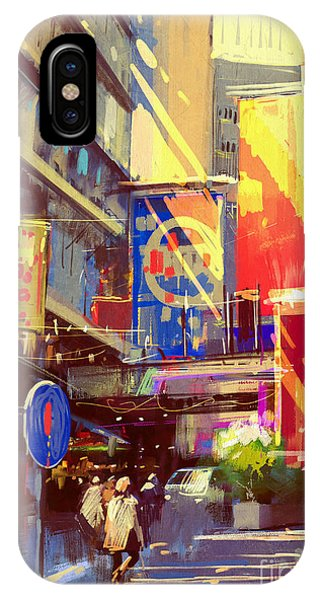 Colorful Painting Of Urban Phone Case by Tithi Luadthong