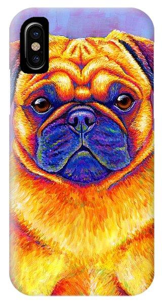 Colorful Rainbow Pug Dog Portrait IPhone Case