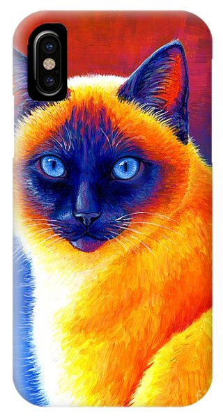 Jewel Of The Orient - Colorful Siamese Cat IPhone Case