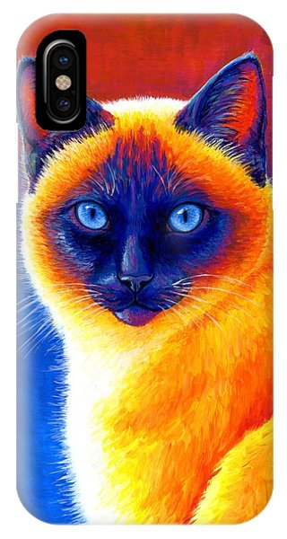 Colorful Siamese Cat IPhone Case
