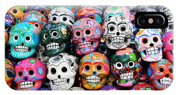 Maya iPhone Case - Colorful Skull From Mexican Tradition by Sisqopote