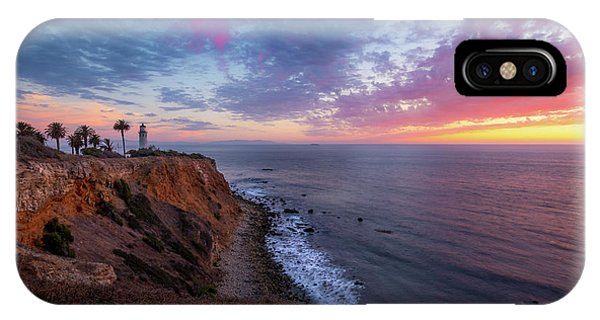 Colorful Sky After Sunset At Point Vicente Lighthouse IPhone Case