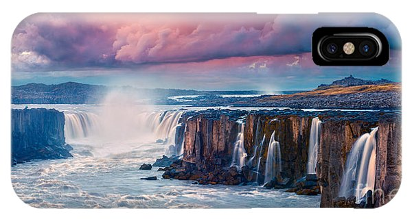 River Flow iPhone Case - Colorful Summer Landscape On Jokulsa A by Andrew Mayovskyy