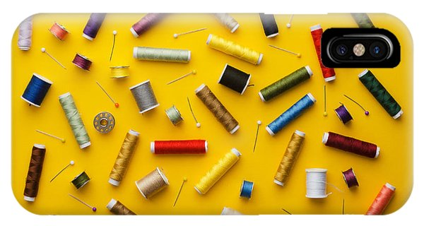 Needles iPhone Case - Colorful Thread Spools Disorganized by Bogdandimages
