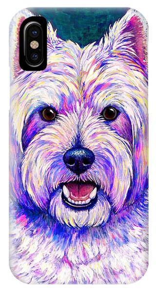 Colorful West Highland White Terrier Blue Background IPhone Case