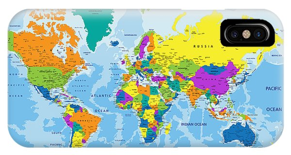 Planet iPhone Case - Colorful World Political Map With by Bardocz Peter
