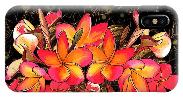 iPhone Case - Coloured Frangipani Black And Gold Background by Joan Stratton