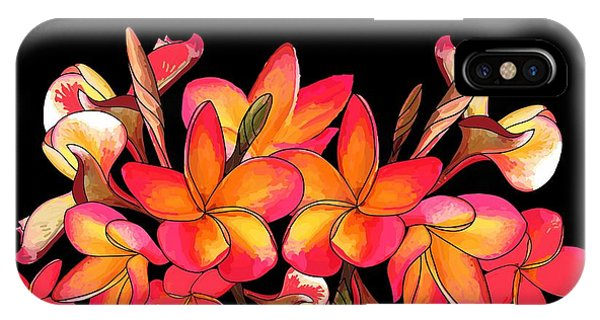 Coloured Frangipani Black Bkgd IPhone Case
