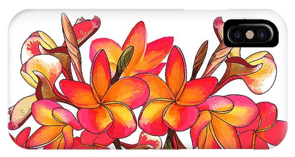 iPhone Case - Coloured Frangipani White Bkgd1 by Joan Stratton