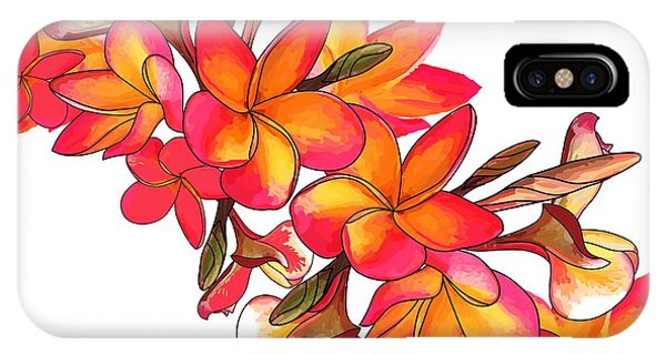 iPhone Case - Coloured Frangipani White Bkgd2 by Joan Stratton